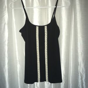 Lace pleated black tank top  cram lace sexy NWT